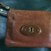 Fossil Brown Leather Coin Purse Id Holder Key Ring Keychain Photo