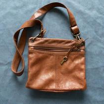 Fossil Brown Leather Crossbody Key Adjustable Messenger Purse Satchel Sling Bag Photo