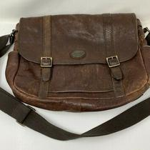 Fossil Brown Leather Crossbody Messenger Bag Unisex Photo