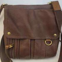 Fossil Brown Leather Crossbody Messenger Satchel Bag Cow Hide Leather  Photo