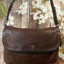 Fossil Brown Leather Crossbody Purse Messenger Bag Gold Zip Guc  Photo