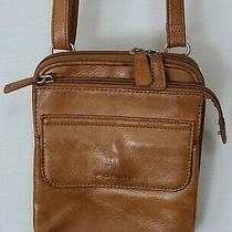 Fossil Brown Leather Crossbody Purse Zip Around Organizer Wallet Multi-Pocket  Photo