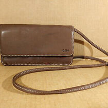 Fossil Brown Leather Crossbody Wallet Organizer Bag Travel Purse Photo