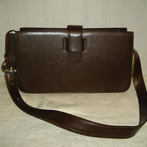 Fossil Brown Leather Envelope Style Shoulder Bag Satchel Purse Tote Vtg  Euc Photo