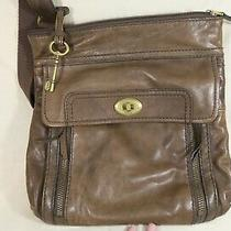 Fossil Brown Leather Handbag Tote Purse Cross Body Satchel Shoulder Strap Photo