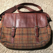 Fossil Brown Leather Harris Tweed Mens Messenger Laptop Bag Photo
