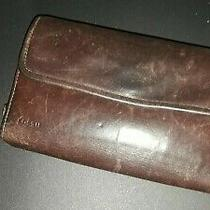 Fossil Brown Leather Id Card Holder Coin Checkbook Trifold Wallet  Photo