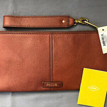 Fossil Brown Leather Liv Wristlet / Clutch With Detachable Strap Photo