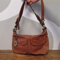 Fossil Brown Leather Lock Key Pendant Detail Satchel Convertible Crossbody Bag  Photo