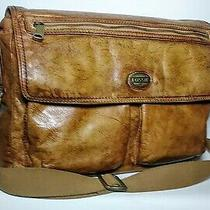 Fossil Brown Leather Messenger Bag Computer Laptop Photo