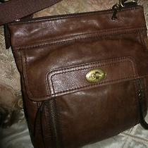 Fossil Brown Leather Messenger Organizer Shoulder Strap Bag Tote Cross Body Bag Photo
