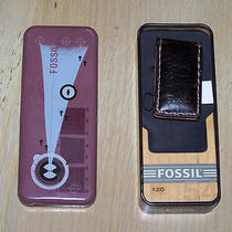Fossil Brown Leather Money Clip With Tin Nib Photo