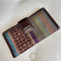 Fossil Brown Leather Multi Color Patchwork Snap Front Flap Zip Clutch Wallet   Photo