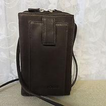 Fossil Brown Leather Organizer Purse Cell Phone Crossbody Bag  Photo
