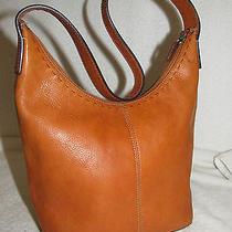 Fossil Brown Leather Popstitch Hobo Shoulder Bag Handbag Purse Photo
