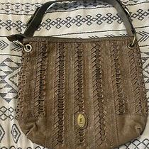 Fossil Brown Leather Purse Hand Bag Over the Shoulder Gold Buckle  Photo