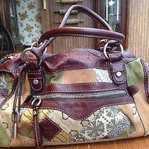 Fossil Brown Leather Satchel With Patchwork Fabric and Leather Photo