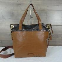 Fossil Brown Leather Shimmering Crossbody Shoulder Bag Tote Handbag Satchel  Photo