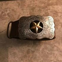 Fossil Brown Leather Size L Belt With Goldtone & Silvertone Lone Star Buckle Photo