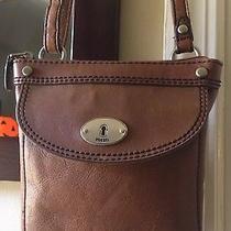 Fossil Brown Leather Small Adjustable Crossbody Zip Tote Handbag Purse Photo