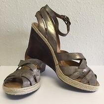 Fossil Brown Leather Strapy Wood Wedge Metallic Shoe Womens Size 8 Photo