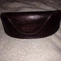 Fossil Brown Leather Sunglasses Eye Glasses Case Sun Glass Magnetic Photo