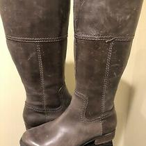 Fossil Brown Leather Tall Boots Zipper Womens 7.5 37.5 Side Zip Photo