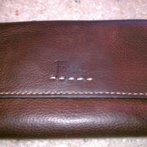 Fossil Brown Leather Vintage Trifold Organizer Wallet Clutch Photo