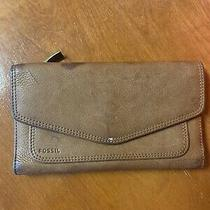 Fossil Brown Leather Wallet Clutch Ladies Lots of Room Pre Owned Photo