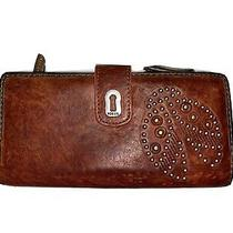 Fossil Brown Leather Wallet With Ladybug Stud Design Photo