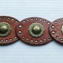 Fossil Brown Leather Wide Boho Western Concho Belt Brass Buckle 38