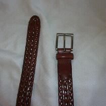 Fossil Brown Leather Woven Mens Belt 32