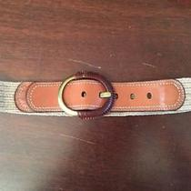 Fossil Brown Leather Woven Stretch Belt  1 3/4