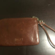 Fossil Brown Leather Zip-Around Clutch Wristlet Super Cute Photo