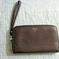 Fossil Brown Leather Zip Around Wallet Wristlet Purse Womens Designer Billfold Photo