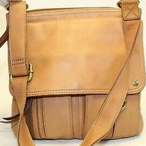 Fossil Brown Leather Zip Top Organizer Purse Shoulder Crossbody Bag Photo