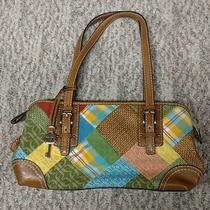 Fossil Brown Patch Multi Color Leather Shoulder Bag Mint Condition Photo