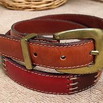Fossil Brown Patchwork Leather Skinny Belt S Photo