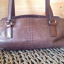 Fossil Brown Pebbled Leather Shoulder Bag Barrel Purse Photo