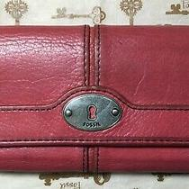 Fossil Brown Pink Salmon Leather Trifold Wallet Clutch Lots of Pockets Cc Coins Photo