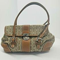 Fossil Brown Signature Jacquard F Satchel Handbag Purse Leather Trim Photo