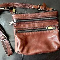 Fossil Brown Soft Leather Swingpack Messenger Crossbody Bag Photo