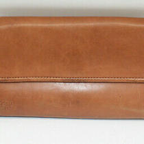 Fossil Brown Soft Leather Tri-Fold Envelope Worn Look Wallet Photo