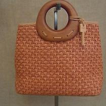 Fossil Brown Straw & Manmade Wood Handle Shoulder Bag Photo