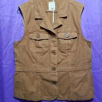 Fossil Brown Tan Casual Vest  Size X Large Sleeveless Button Up Tan Brown Color Photo