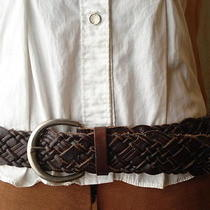 Fossil Brown Wide Braided Woven Leather Hip/waist Belt & Buckle -Womens Size M/l Photo
