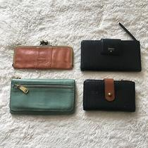 Fossil Bundle 4 Wallets Coin Purses Leather Variety Styles Black Brown Blue Photo
