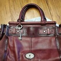 Fossil Burgundy Leather Satchel Crossbody Handbag Purse Photo