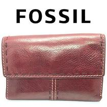 Fossil Burgundy Tri-Fold Id Wallet Stitched Leather Lots of Pockets Vintage Red Photo