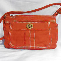 Fossil Burnt Orange Purse Bag Small Canvas Vegan Bag Lots of Pockets Euc Photo